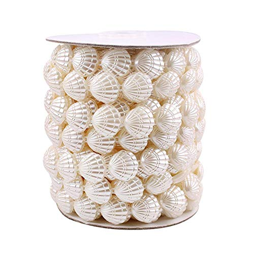 XHCP Ivory Faux Pearls Crystal Beads Roll,10 Yards Pearl Strands Bead Garland Pearl Beaded Trim for Garland DIY Flowers Wedding Party Decoration