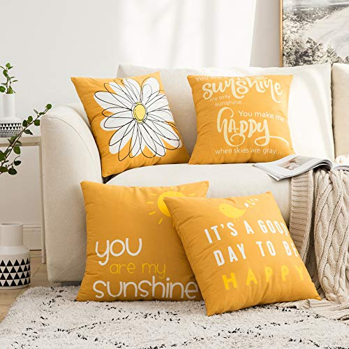 MIULEE Pack of 4 Fall Decorative Cute Throw Pillow Covers Cheery Quote Words Bird Sunshine Flower Cushion Case Sham Pillowcases for Couch Sofa Bed 18 x 18 Inch Orange