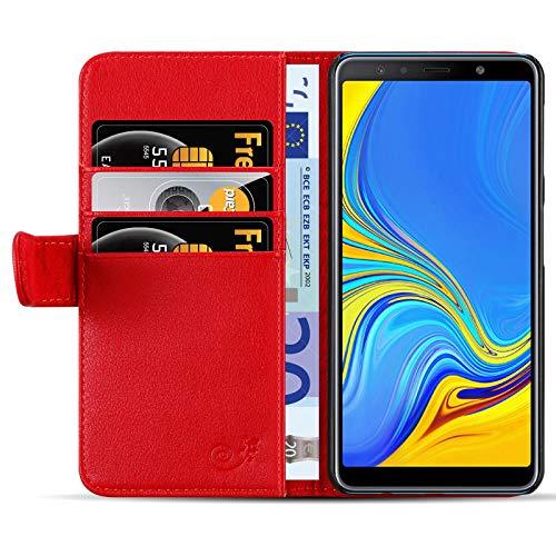 JammyLizarD Lederhülle für Samsung Galaxy A7 2018 | Ledertasche [ Classic Wallet Tasche Series ] Leder Book Hülle Hülle Flip Cover Schutzhülle mit Kartenfach, Rot