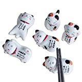 su-luoyu 5 Stück Stäbchenhalter Japanischer Stil Keramik Glückliche Katze Stäbchenhalter Essstäbchenablagen, Keramik Dekoration Besteck Stand