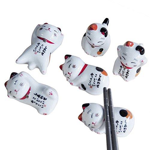 su-luoyu Stäbchenhalter Japanischer Stil Keramik Glückliche Katze Stäbchenhalter, Zuhause Keramik Dekoration Besteck Stand