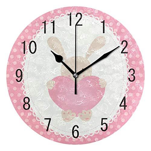 Night Ing Reloj de Pared Redondo Lindo Conejo Conejo con Amor corazón Lunares Reloj de Pared Redondo para Sala de Estar Cocina Dormitorio