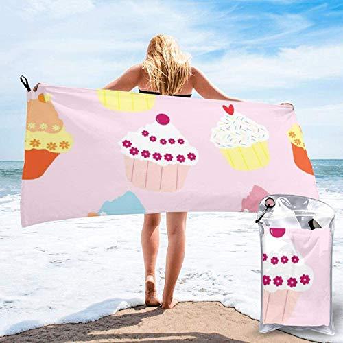 Toalla de Playa 27.5 'X 55',Sweet Cup Cakes Microfibra de Arena Ultra Suave Portátil Absorbente de Agua Microfibra múltiple Sin Arena Toalla de Playa Manta