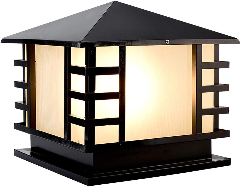 Gartenlichter der Spaltenscheinwerfer im Freien Gartenrasen beleuchtet Landhausansicht beleuchtet wasserdichte Pfostenlichter, Kopf der Lampe E27 (Farbe   schwarz, Größe   21  21  27cm)