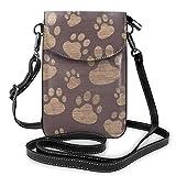 Bolso ligero del teléfono celular de la PU, diseño de la huella de la huella de la huella del arte de las pequeñas bolsas del bolso del hombro de la cartera del bolso del bolso