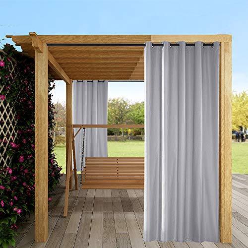 Outdoor Vorhang Wasserdicht,Blickdicht Vorhang Winddicht UV Schutz Sonnenschutz Gardinen für Balkon Garten Hof (137 X 244cm, Grau)