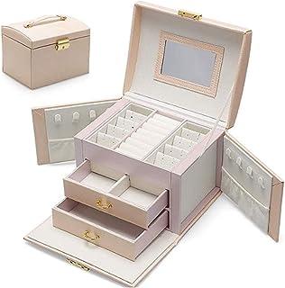 ADEL DREAM Boîte à bijoux, verrouillable, 3 niveaux, 2 tiroirs, avec miroir, pour la maison et les déplacements, pour les ...
