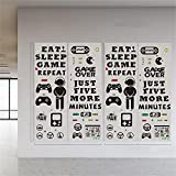 94 Stickers 4 Sheets Video Game Wall Stickers, Game Wall Decals for Boys Bedroom, Personalized Gamer Wall Stickers for Kids, Eat Sleep Game Wall Decor for Party, Playroom, Bedroom, Living Room, Game Room