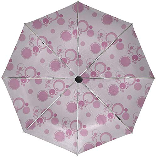 Paraguas automático Círculos Fondo Rosa Superficie Textura Viaje Conveniente A Prueba de Viento Impermeable Plegable Automático Abrir Cerrar