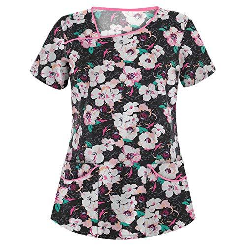 Camisetas de Primavera/Verano para Mujer, Botones de Cuello Redondo, Talla Grande, Camiseta Informal con Estampado de Personalidad de Moda LargaXX-Large