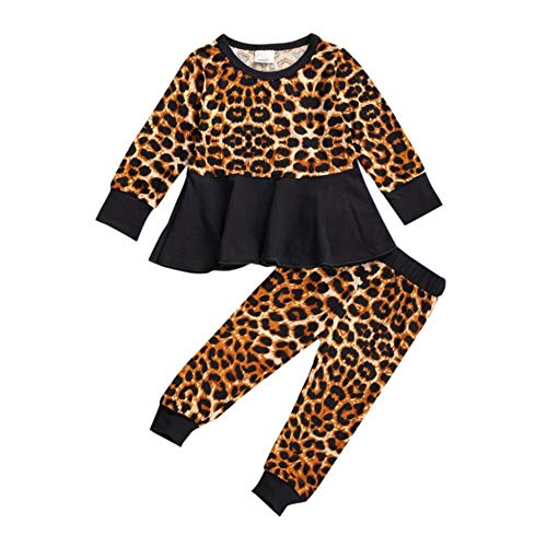 UKKO Baby Clothes Toddler Kids Baby Clothing Set Solid Top Print Pant Girl Ruffle Floral Tops Pants Leggings 3Pcs Outfits Clothes