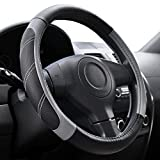 Elantrip Leather Large Steering Wheel Cover 15 1/2 to 16 inch Soft Grip Breathable for Car Truck SUV Jeep Anti Slip Black and Gray