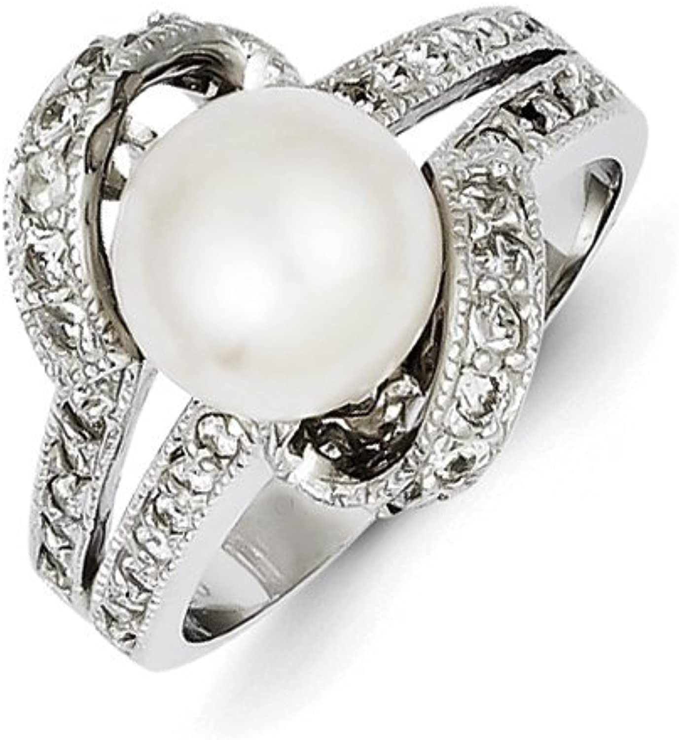 gold and Watches Sterling Silver Imitation Pearl and CZ Ring