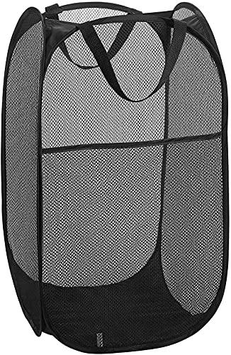 Cesto para la Colada, 【2 Pack】Cestos para Lavandería Plegables, Pop-Up Malla Cesto de Ropa Bolsa Bin Cesto Cesta de Lavandería Organizador de Almacenamiento para Juguetes Ropa Sucia (Negro)