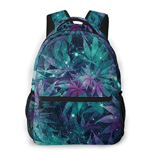 Laptop Bags,Boys Girls Casual Backpack,Men Women Daypack,Lightweight College Book Bags,Adult Travel Rucksack,Ganja Galaxy