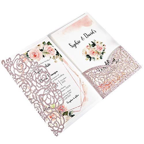 DreamBuilt 4.7 x7 inch 25PCS Blank Rose Gold Glitter Wedding Invitations Kit Laser Cut Hollow Rose Pocket Wedding Invitation Cards with Envelopes for Wedding Bridal Shower Engagement Invite
