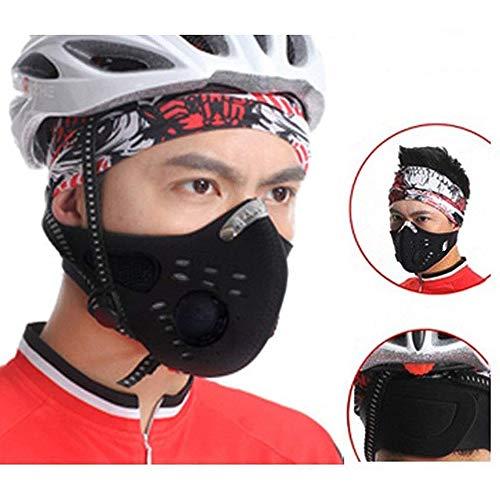 Sportmaske Fahrradmasken Staubmaske Atemmaske Gesichtsschutz mit Aktivkohlefilter Anti-Pollen, Autoabgase Waschbare und Wiederverwendbare für Radfahren, Wandern Outdoor-Aktivitäten