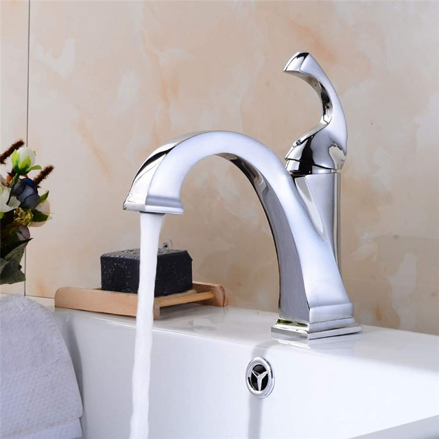 Bathroom Sink Taps YHSGY Basin Faucets Nickel Chrome Brushed Sink Mixer Tap Fashion Style Single Lever Single Hole Deck Mounted Crane Bathroom Tap