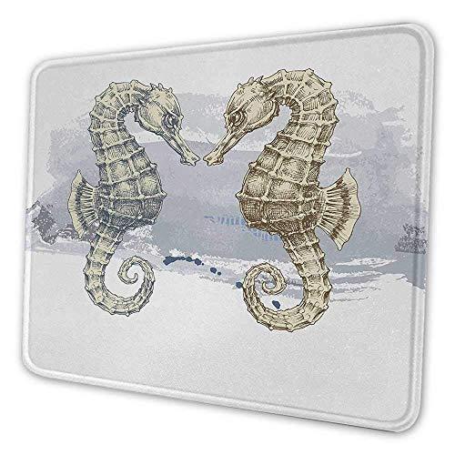 Tier ergonomische Mauspad Seepferdchen Liebe Valentinstag in Pinsel Kunst Technik Grunge Splash auf Hintergrund Anti-Falten-Mauspad grau Creme