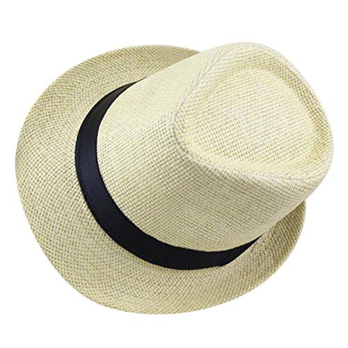 AIEOE Kinder Panamahut mit Stoffband Mädchen Jungen Strohhut Sonnenschutzhut Street Style - Beige für Kopfumfang 53-54cm