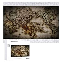 INOV 旧式な世界地図 閉めて下さい ジグソーパズル 木製パズル 500ピース キッズ 学習 認知 玩具 大人 ブレインティー 知育 puzzle (38 x 52 cm)