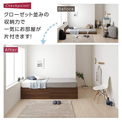 ベッド収納付き大容量640L木製頑丈省スペースコンパクトヘッドレスシンプルモダンブラックシングルボンネルコイルマットレス付き