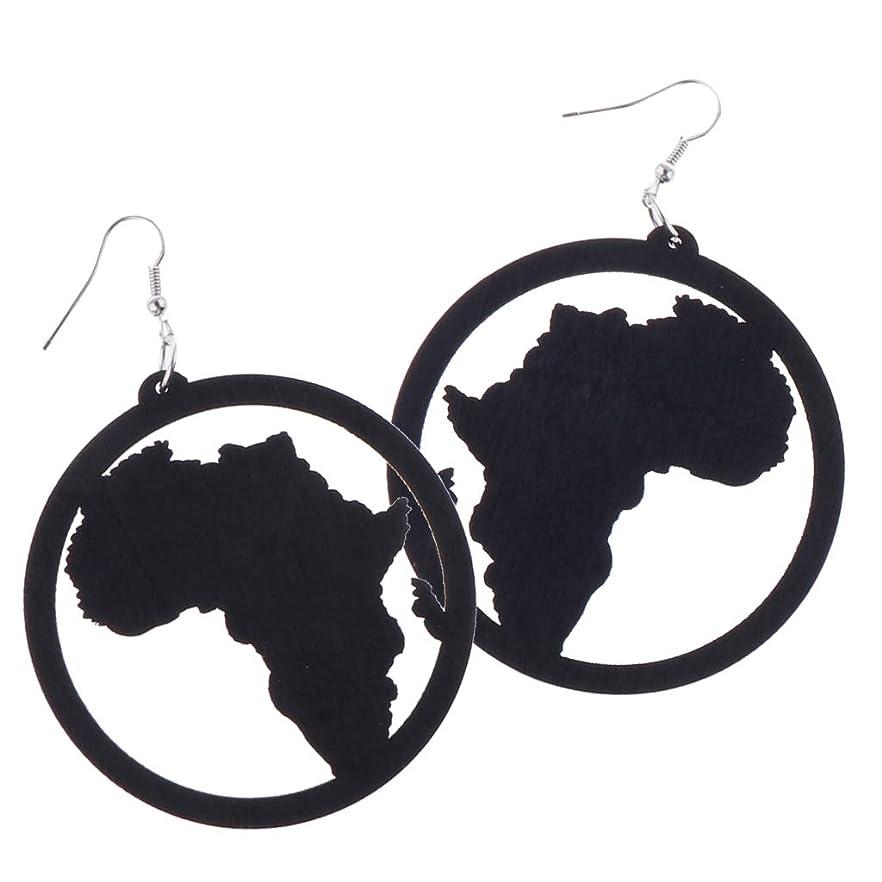 最悪不幸赤外線dailymall 幾何学的な耳フックイヤリング木製アフリカ地図ブラブライヤリングスタッドイヤリング - ブラック
