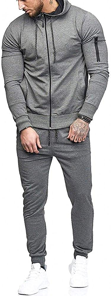 Aayomet Tracksuit Zip up Patchwork Casual Hoodie Sweatshirt Pants Two Piece Sweatsuits Sports Outfits Suits for Men