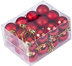 Fizzytech Christmas Xmas Tree 3CM RED Ball Bauble Hanging Party Ornament (Pack of 12 3CM)