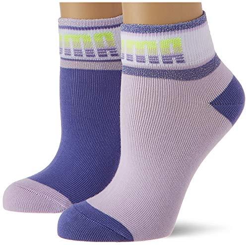 PUMA Girls Kids' Seasonal Quarter (2 Pack) Socks, Purple Combo, 35/38