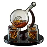 Large Skull Decanter 4 Glasses - Beautiful Wooden Base - By The Wine Savant Use Skull Head Cup For A Whiskey, Scotch and Vodka Shot Glass, 25 Ounce Decanter 4 Ounces Shot Glass