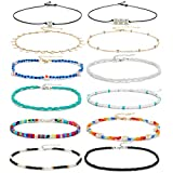 XIJIN Small Beads Choker Necklace for Women VSCO Girls Cute Adjustable Beach Layered Shell Necklace Colorful Boho Seed Bead Choker Set
