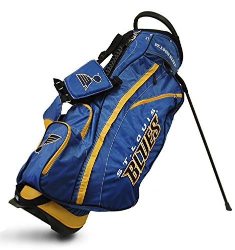 Team Golf NHL St Louis Blues Fairway Golf Stand Bag, Lightweight, 14-way Top, Spring Action Stand, Insulated Cooler Pocket, Padded Strap, Umbrella Holder & Removable Rain Hood