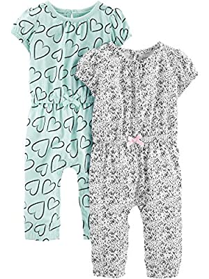 Simple Joys by Carter's Girls' 2-Pack Fashion Jumpsuits, Blue Hearts/Gray, 6-9 Months from Simple Joys by Carter's