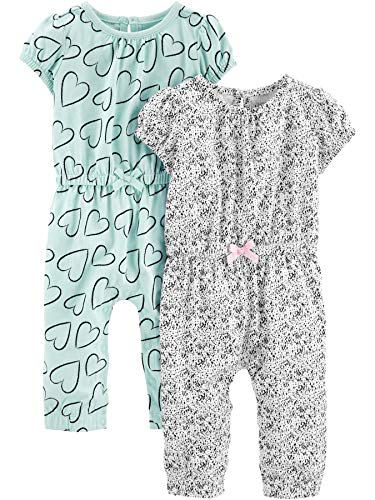 Simple Joys by Carter's Girls' 2-Pack Fashion Jumpsuits, Blue Hearts/Gray, 3-6 Months