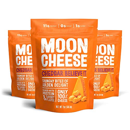 Moon Cheese Cheddar Believe It, 100% Cheddar Cheese Snacks, Crunchy Keto Food, Low Carb, High Protein, Gluten-Free 2oz (3 Pack) A no-sugar snack alternative to protein bars and shakes.