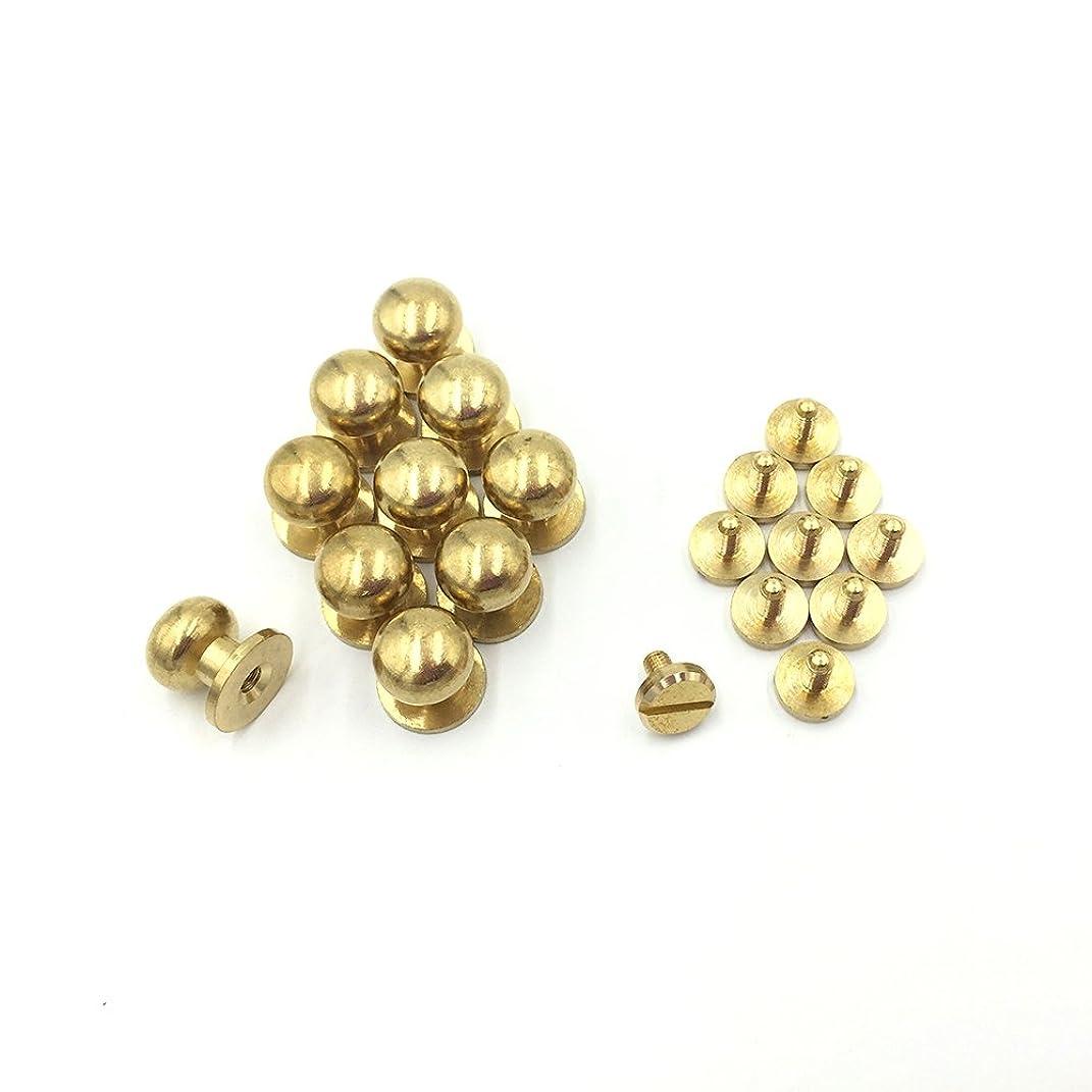 10- PACK 10mm Sam Browne Solid Brass Round Button Studs,Leather Craft Belt CHICAGO SCREWS SOLID BRASS Studs Nail Rivets DIY for Belt Wallet Handbag (10MM)