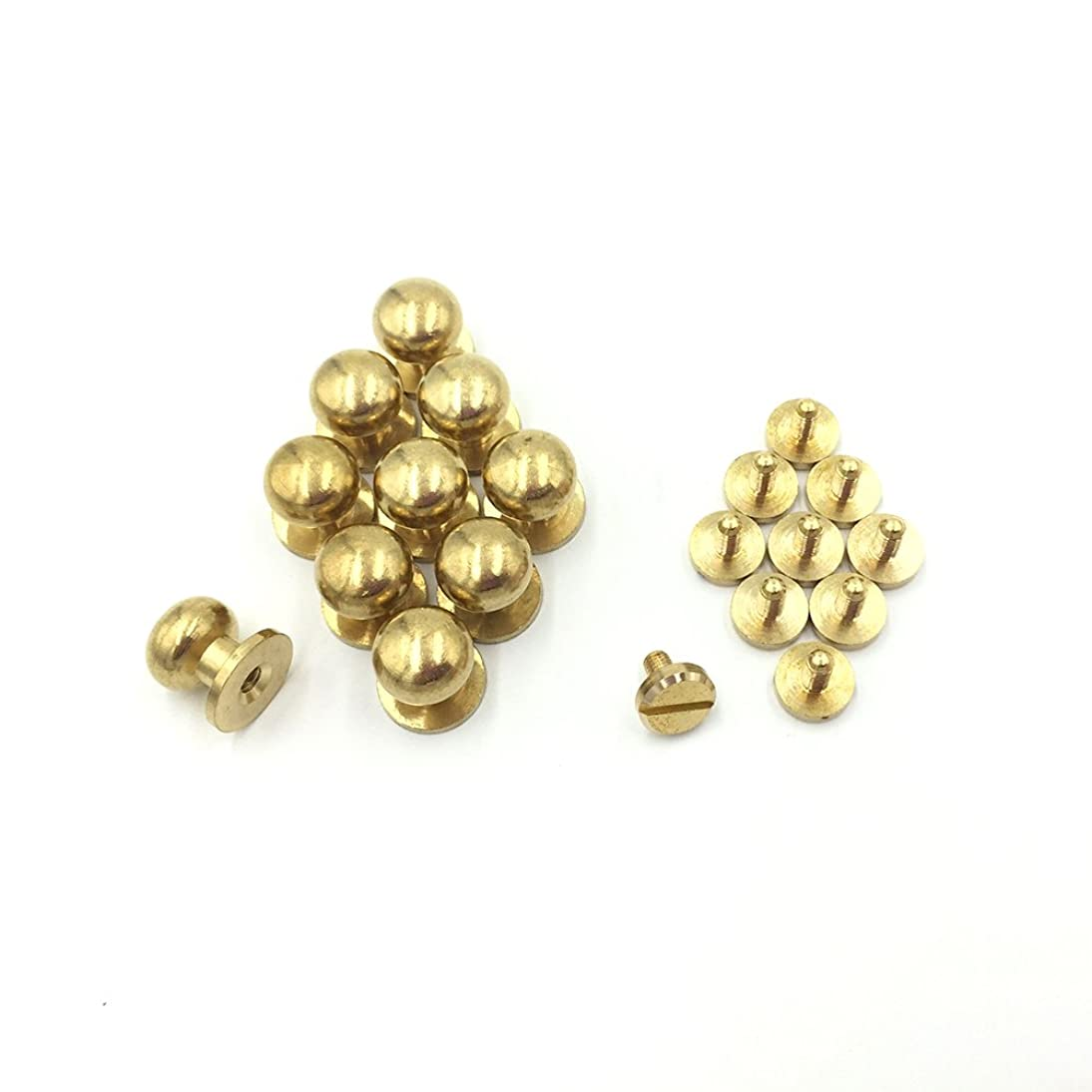 10- PACK 10mm Sam Browne Solid Brass Round Button Studs,Leather Craft Belt CHICAGO SCREWS SOLID BRASS Studs Nail Rivets DIY for Belt Wallet Handbag (10MM)