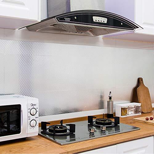 KINLO 0.61x10M Aluminium Folie Aufkleber Küchen Selbstklebende Küchenfolie Hitzebeständig Tapete Öl-Resistent Wasserdicht Anti-Schimmel DIY Möbel Folie für Küchen/ Schrank/ Möbel ( 5M x 2Rollen )