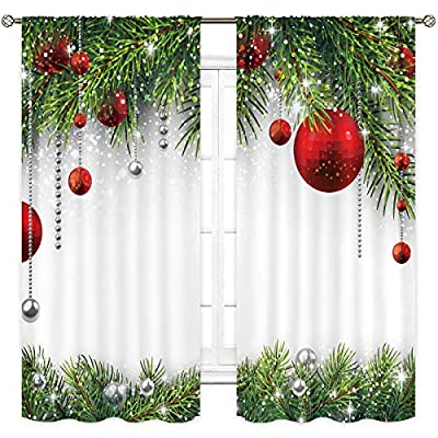 Cinbloo Merry Christmas Curtains Rod Pocket Balls with Pine Fir Tree Holiday Season Classic Art Printed Living Room Bedroom Window Drapes Treatment Fabric 2Panels 42 (W) x 63(L) Inch