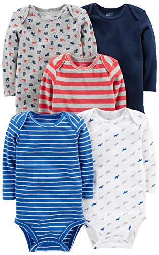 Simple Joys by Carter's Baby Boys' 5-Pack Long-Sleeve Bodysuit, Blue/Red/Grey, Newborn
