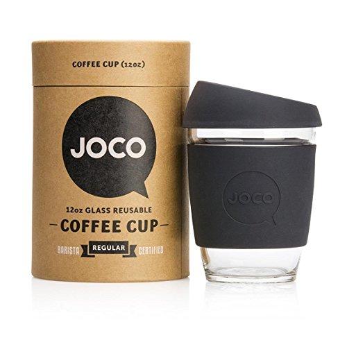 Joco Kaffeebecher aus Glas, wiederverwendbar, 340 ml Schwarz