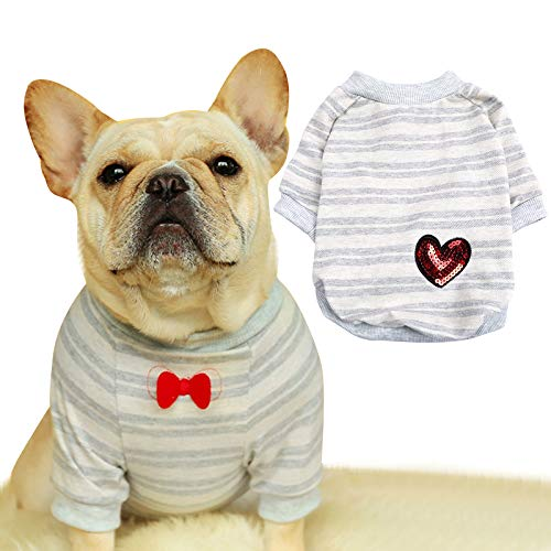 French Bulldog Stripe Cotton Dog Shirts Pet Puppy T-Shirt Clothes Outfit Apparel Coats Tops (Small)