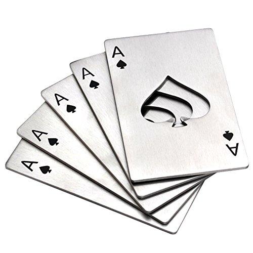 Mogoko Apribottiglie Set in Acciaio Inox Cavatappi Birra Bibite con Design Speciale e Divertente - Poker/Argento