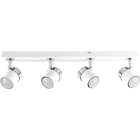 MiniSun 4 Spots sur rail. Finition en blanc brillant avec têtes réglables.