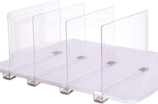 Sooyee Beautiful 4 PCS Acrylic Shelf Dividers, Perfect Perfect for Closets Kitchen Bedroom Shelving Organization to Organize Clothes Closet Shelves, Books,Towels and Hats, Purses Separators,Clear.