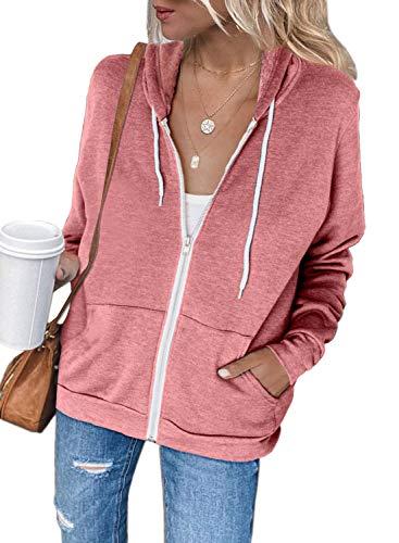 Dokotoo Hoodies Sweatshirt Femme Manches Longues Sweat à Capuche Veste Femmes Casual Pull Zippé Couleur Unie Rose Décontracté Printemps Automne Taille L