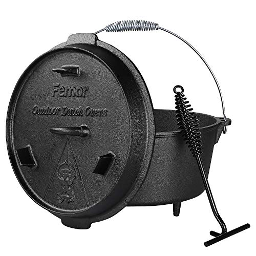 femor Outdoor Dutch Oven 8 Litre Cast Iron Cooking Pot with Feet Pre-Burned...