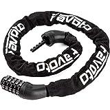 Favoto チェーンロック スチールロック ダイヤルロック カギ不要 5桁ダイヤル式ケーブルロック ワイヤー式ロック 長さ98cm 2層構造 盗難防止 自転車、バイク用ロック
