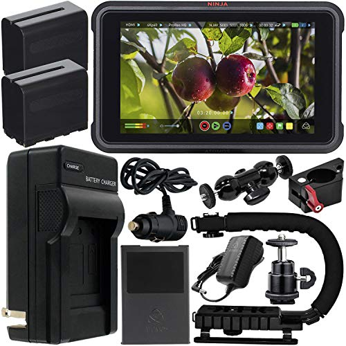 "Atomos Ninja V 5"" 4K HDMI Recording Monitor with Power Bundle & Accessory Kit – Includes: 2x Extended Life NP-F975 Batteries with Charger, Action Grip Stabilizer, Rotating Monitor Mount & MORE"